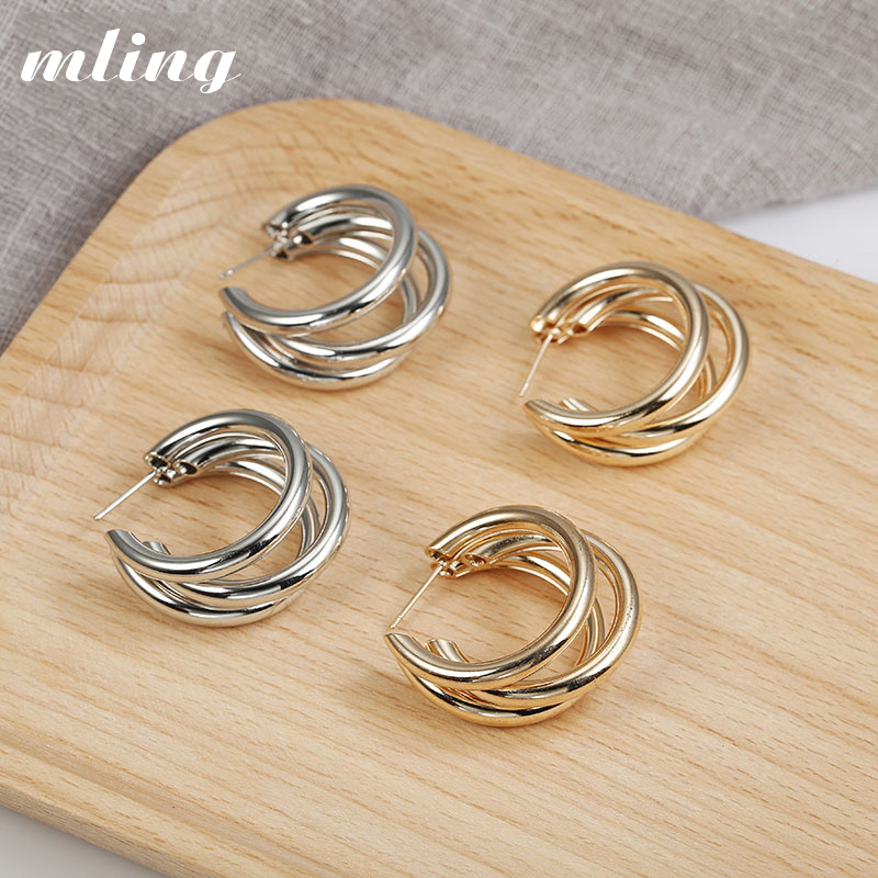 Hot Sale New Fashion Trend Earrings 2019 Brincos Oorbellen Simple Metal Wind Letter Round Shape Earrings For Women Gift