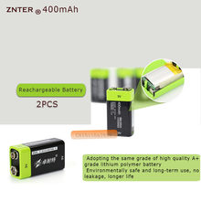 2PCS ZNTER S19 9V 400mAh USB Rechargeable 9V Lipo Battery For RC Camera Drone Accessories(China)