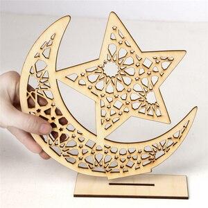 Image 3 - Houten Ramadan Eid Mubarak Decoraties Voor Huis Decoratie Houten Plaque Opknoping Hanger Islam Moslim Evenement Feestartikelen