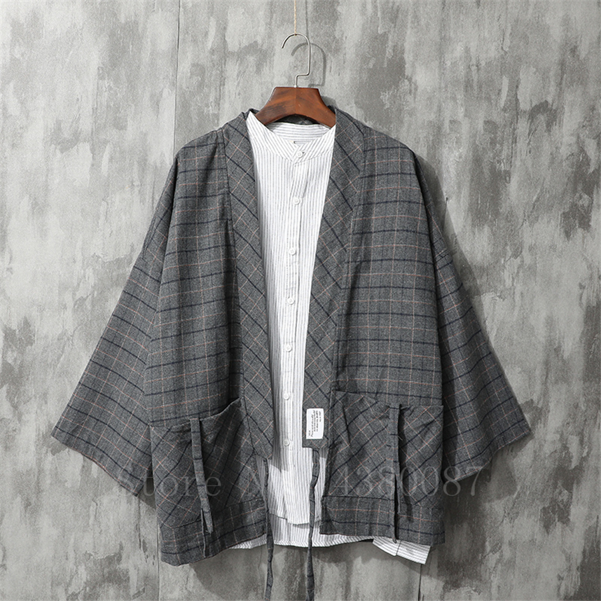 Men's Kimono Japanese Traditional Style Coat Cardigan Casual Loose Haori Retro Plaid Samurai Jacket Asian Clothing Yukata