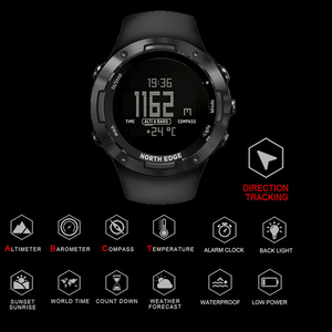 Image 2 - North Edge 디지털 시계 방수 시계 스테인레스 스틸 시계 세계 시간 나일론 시계 밴드 LED 시계 남자 reloj hombre ALTAY2