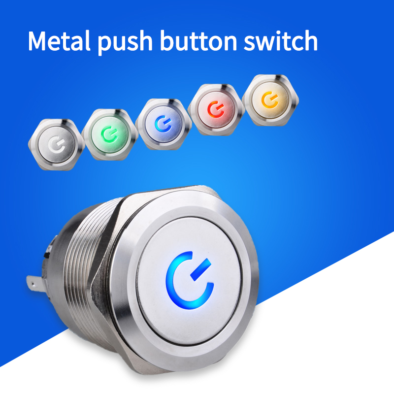 1PC <font><b>12MM</b></font> <font><b>LED</b></font> 3V 5V 6V12V 24V 220V Self-reset Metal Button <font><b>Switch</b></font> Momentary Button Annular Push Button <font><b>Switch</b></font> Ring Power Lamp image