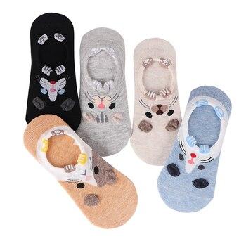 28 Style 10 Piece=5 Pairs/lot Cute Harajuku Animal Socks Women Summer Korean Cat Bear Rabbit Funny Low Cut Ankle Sock Happy Sox