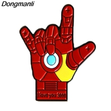 P3891 Dongmanli Fashion I love You Cool Metal Enamel Brooches and Pins Collection Lapel Pin Badge Jewelry
