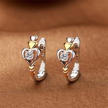 Elegant Love Heart Wedding Earrings Charm Female White Round Crystal Earrings Vintage Gold Color Small Hoop Earrings For Women