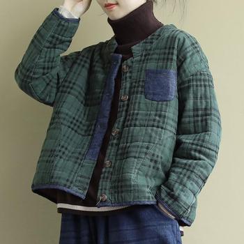 2020 autumn winter short topcoat women thin jacket fashion standing collar latticed retro outwear 1