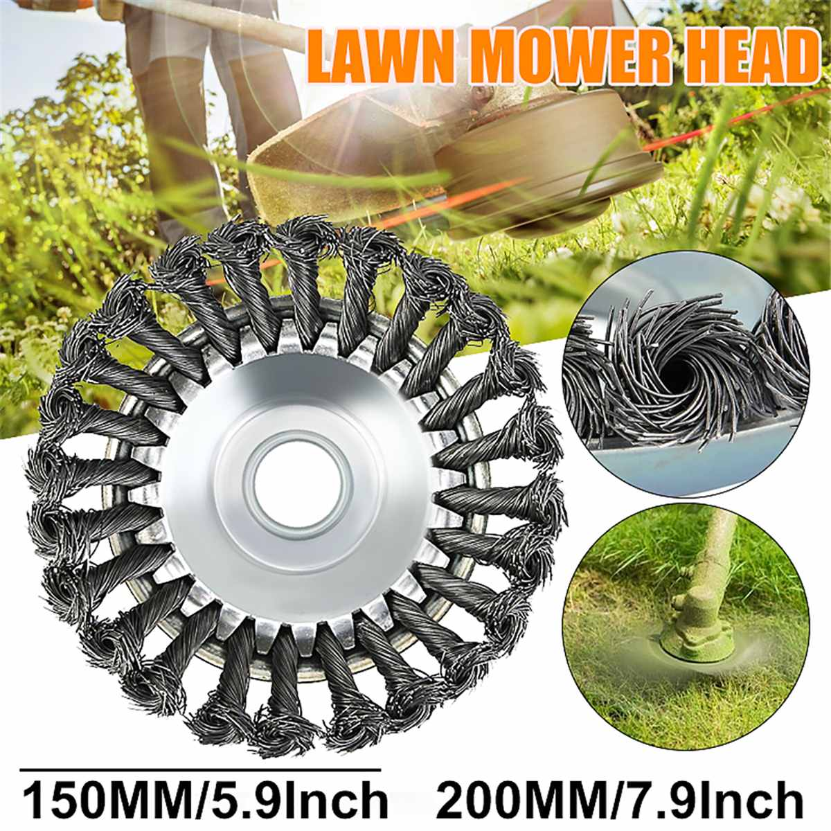 Garden Tool Steel Wire Wheel Brush High Carbon Steel 6/8 Inch 25mm Trimmer Head For Lawnmower Landscaping Rotary Weed Brush
