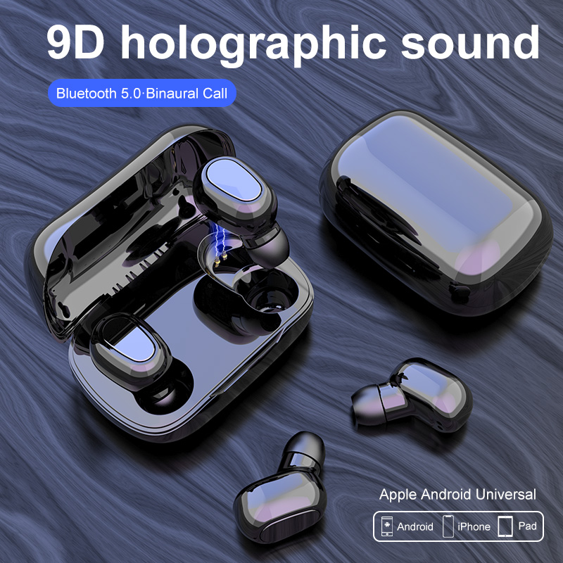 L21 Bluetooth Earphone Wireless Earbuds 5.0 TWS Headsets Dual Earbuds Bass Sound  For Huawei Xiaomi Iphone Samsung Mobile Phones