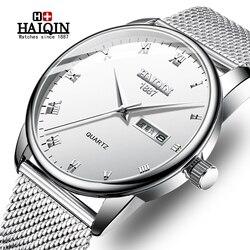 Haiqin homens relógios de luxo da marca superior reloj hombre negócios relógio de quartzo masculino militar esportes malha aço relógio relogio masculino