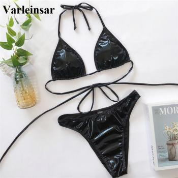 New Sexy 2020 PU Faux Leather Bikini Women Swimwear Female Swimsuit Two-pieces Bikini set Halter Bather Bathing Suit Swim V1842