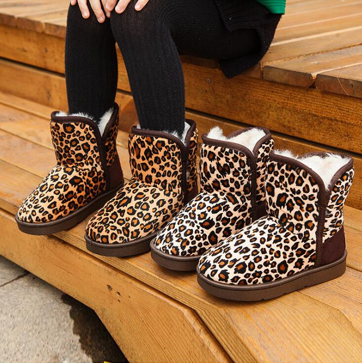 Leopard Print Children Snow Boots For Baby Girl Boy Fashion Warm Cotton Shoes Princess Girls Boots Kids Winter Shoes