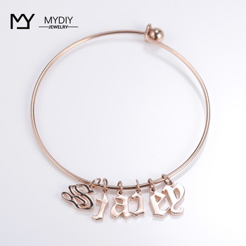 Old English single letter New fashion women men lovers bracelet gold Rose/silver alloy charm personality jewelry