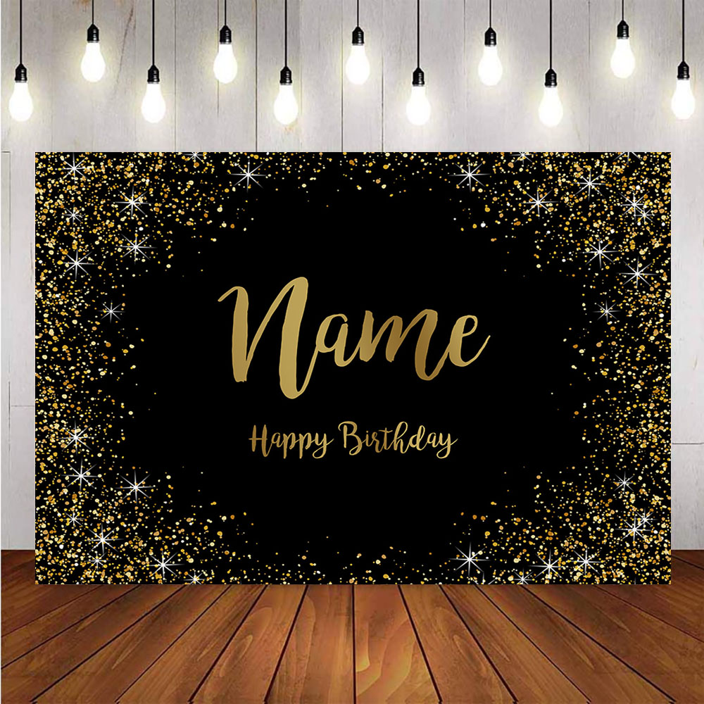 Золотые блестящие вечерние фоны с днем рождения на заказ для фотостудии черные предметы для украшения дня рождения имя сделай сам Фон для фотосъёмки    АлиЭкспресс