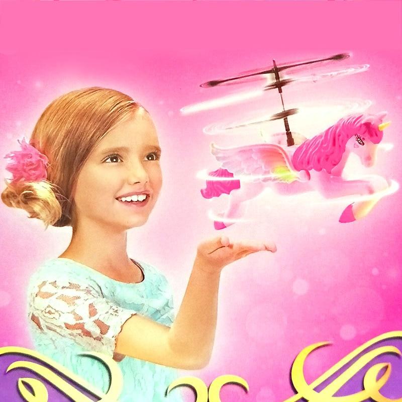 Bonito dos desenhos animados brinquedo animal sem fio sensor zangão voando animal rosa princesa meninas brinquedo boneca com luz para crianças aniversário presente de natal
