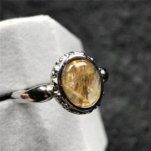 Image 5 - 12X10Mm Natuurlijke Gold Rutielkwarts Ring Voor Vrouw Man Crystal Oval Kralen Zilveren Fashion Maat Verstelbaar Ring sieraden Aaaaa