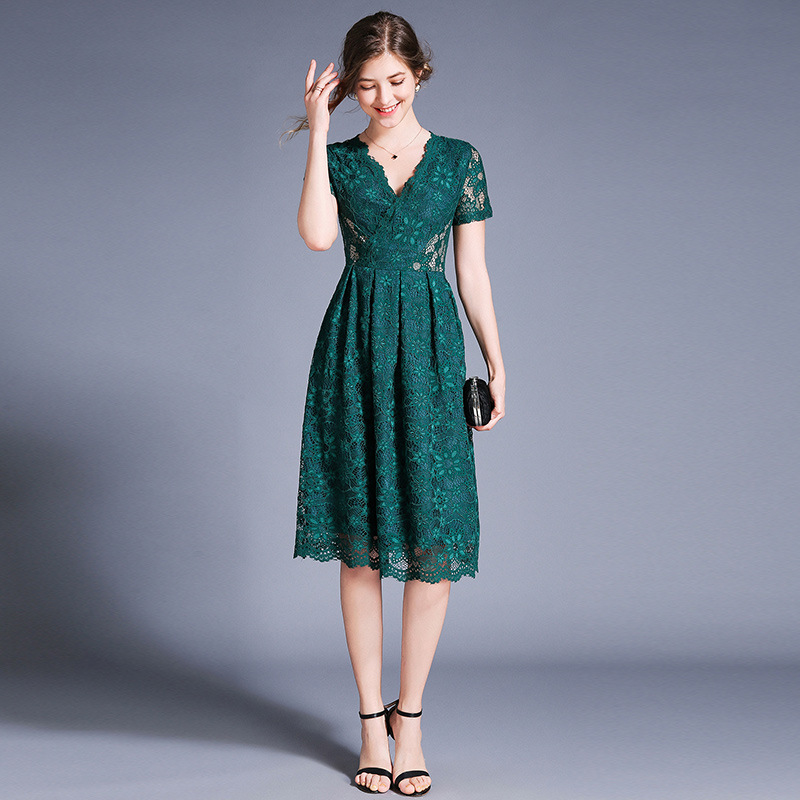 Europe And America Retro Summer WOMEN'S Dress New Style V-neck Hollow Out Short Sleeve Slim Fit Lace Fashion Elegant Medium-leng