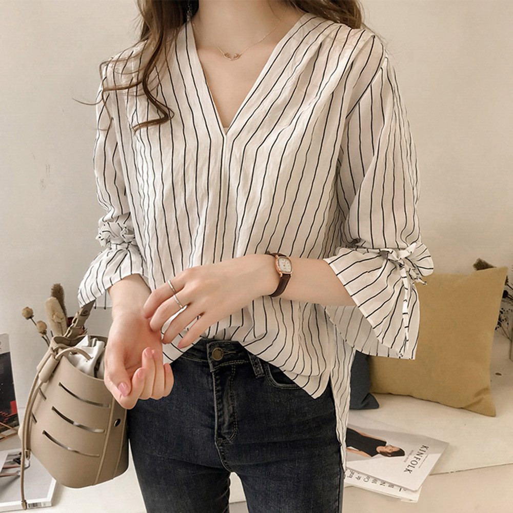 Korean Stripe White blue Blouse Women Fashion Office Lady Casual Shirt Flare Sleeve Pullover Casual Loose