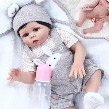 48CM bebe reborn baby doll Handmade full Silicone reborn toddler twins boy girl Bonecas kid gift toy dolls