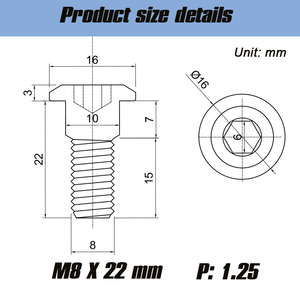 Image 2 - 5Pcs M8x22 mm Titanium Bolt Screws Hex Socket Head for Suzuki Disc Brake Rotor Bolts M8*22 Motorcycle Accessories