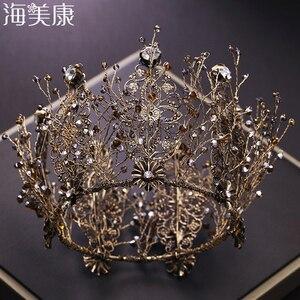 Женская корона с черным кристаллом Haimeikang, Круглая Корона невесты в стиле ретро, свадебные аксессуары для волос