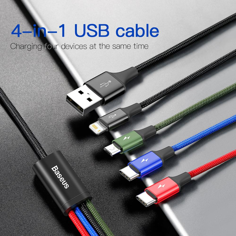 3 in 1 USB Cable Type C Cable for Samsung S20 Xiaomi Mi 9 4 in 1 Cable for iPhone 12 X 11 Pro Max Charger Micro USB Cable 3