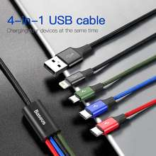 Baseus 3 in 1 USB Cable Type C Cable for Samsung S20 Redmi Note 9s Charging 4 in 1 Cable for iPhone X 11 Pro Max Micro USB Cable