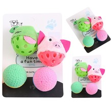 Pet Playing Interactive Puzzle Cat Ball Toy Set, Multicolor Kitty Plush Bell And Foam Suit For
