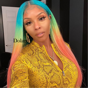Image 5 - Lace Front Human Hair Wigs Rainbow Colored Straight Lace Frontal Wig Brazilian Transparent Full T Color Lace Dolago Colorful Wig