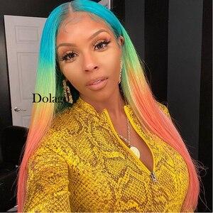Image 5 - Spitze Front Menschliches Haar Perücken Regenbogen Farbige Gerade Spitze Frontal Perücke Brasilianische Transparent Volle T Farbe Spitze Dolago Bunte Perücke