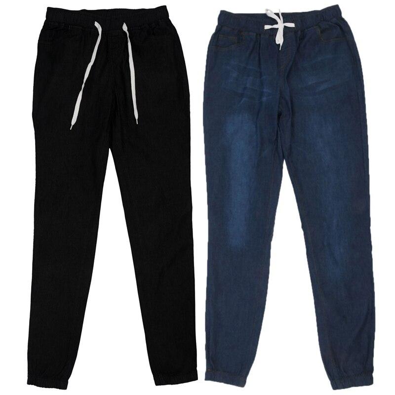 2 Pcs Women Casual Jogger Pants Drawstring Elastic Waisted Jeans Solid Ladies Denim Pants Slim Leggings Pants XL , Dark Blue Wit
