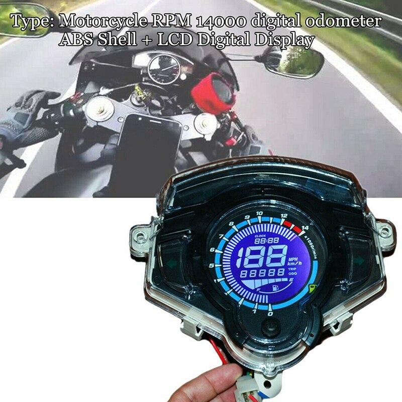14000RPM Motorcycle Bike LCD Digital Odometer Speedometer Tachometer Gauge Part