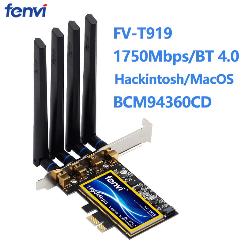 fenvi T919 1750Mbps PCIe Wifi Adapter BCM94360CD MacOS Hackintosh Bluetooth 4 0 802 11ac 2 4G 5G Wireless Card Desktop PC
