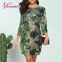 Versear, женское облегающее платье, блестки в виде пайеток, с 3/4 рукавами, с круглым вырезом, для вечеринки, повседневное, мини платье, элегантная уличная одежда, Vestido
