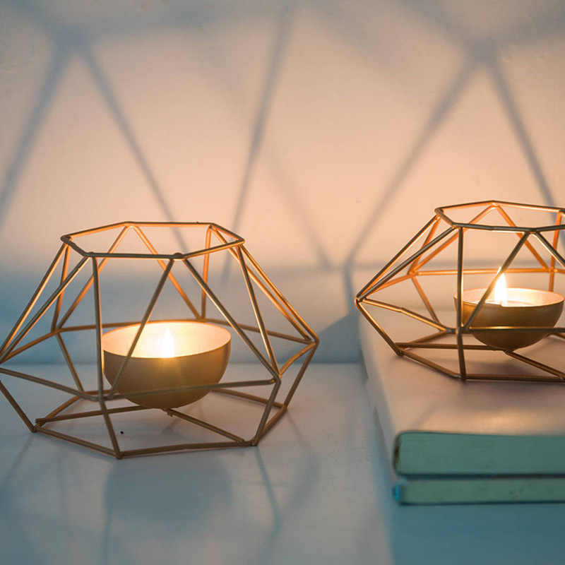 Fashion Geometric Iron Candlestick Wall Candle Holder Ornament Sconce Matching Tealight Steel Minimalist wedding Home decor Gift