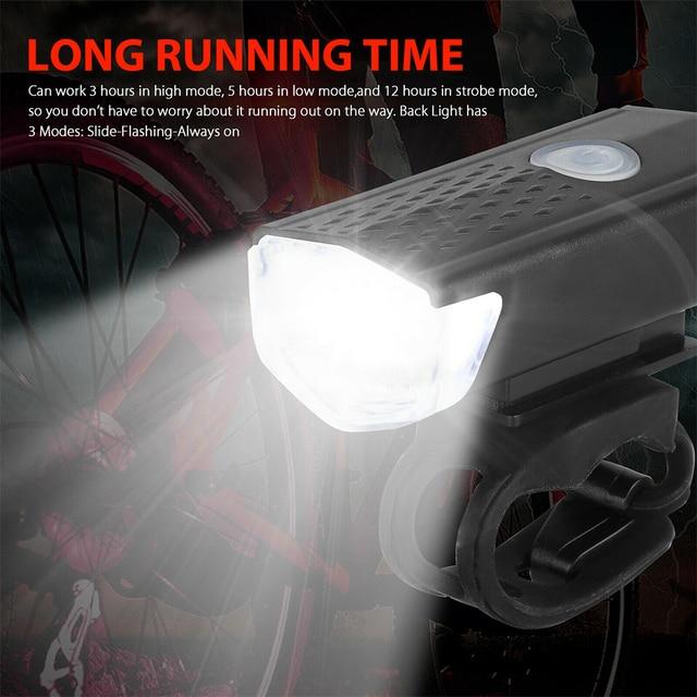 Luz da bicicleta usb recarregável led conjunto mountain front voltar farol lâmpada lanterna ao ar livre ciclismo esportes 6