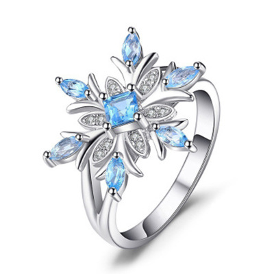 Delicate Female Flower Ring Blue Cubic Zirconia Ring Band Promise Love Engagement Rings For Women