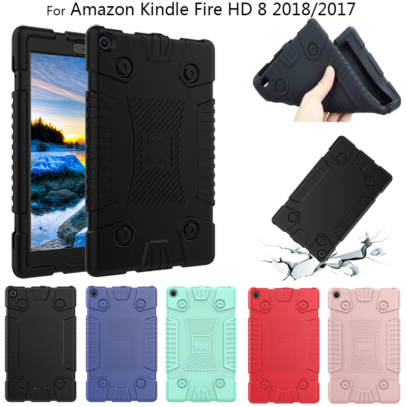 Soft TPU Tablet <font><b>Case</b></font> For Amazon Kindle <font><b>Fire</b></font> <font><b>HD</b></font> <font><b>8</b></font> HD8 <font><b>2018</b></font> 2017 2016 <font><b>8</b></font>.0 inch Kids Baby Safe Shockproof Silicone e-Book <font><b>Case</b></font> image