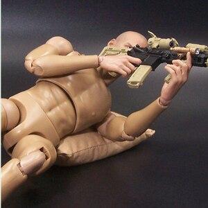 Image 2 - 1/6 스케일 남성 그림 바디 좁은 어깨 근육 남자 군인 12 Inche 인형 바디 액션 그림 DIY Movable