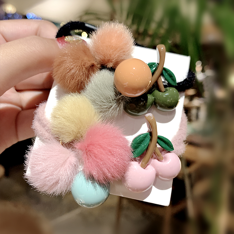 Women Girls Cute Colorful Hairballs Cherry Elastic Hair Band Ponytail Holder Sweet Headband Rubber Band Fashion Hair Accessories