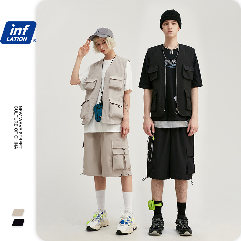 INFLATION Men Summer Utility Suit Streetwear Jersey Men Utility Gilet  & Loose Fit Style Men Shorter Shorts With Elastic Waist