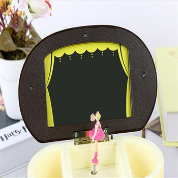 Pink Beautiful Ballet Dancer Doll Music Box Jewelry Organizer Make Up Box Portable Musical For