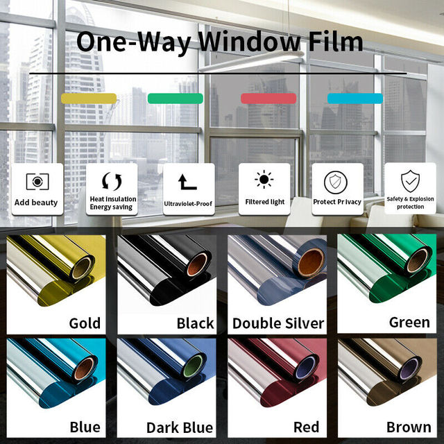 Mirror Reflective Window Film One Way Vision Solar Window Tint Vinyl Glass Self Adhesive Control Film Privacy Sticker for Home 1