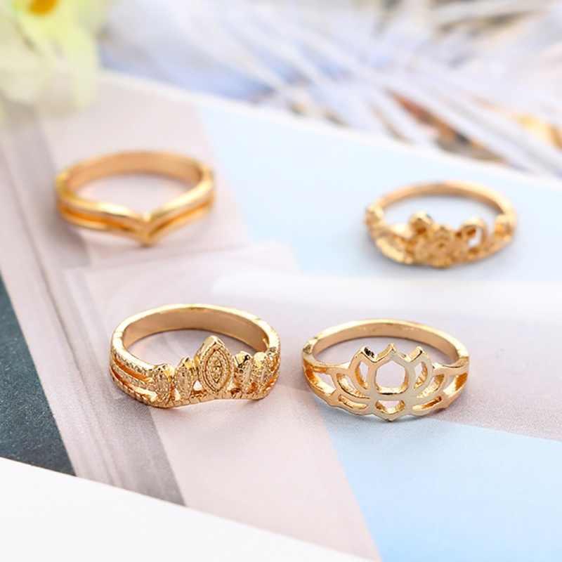 Conjunto de anillo de dedo de Color dorado y plateado para mujer, regalo de joyería de diseño personalizado para mujer