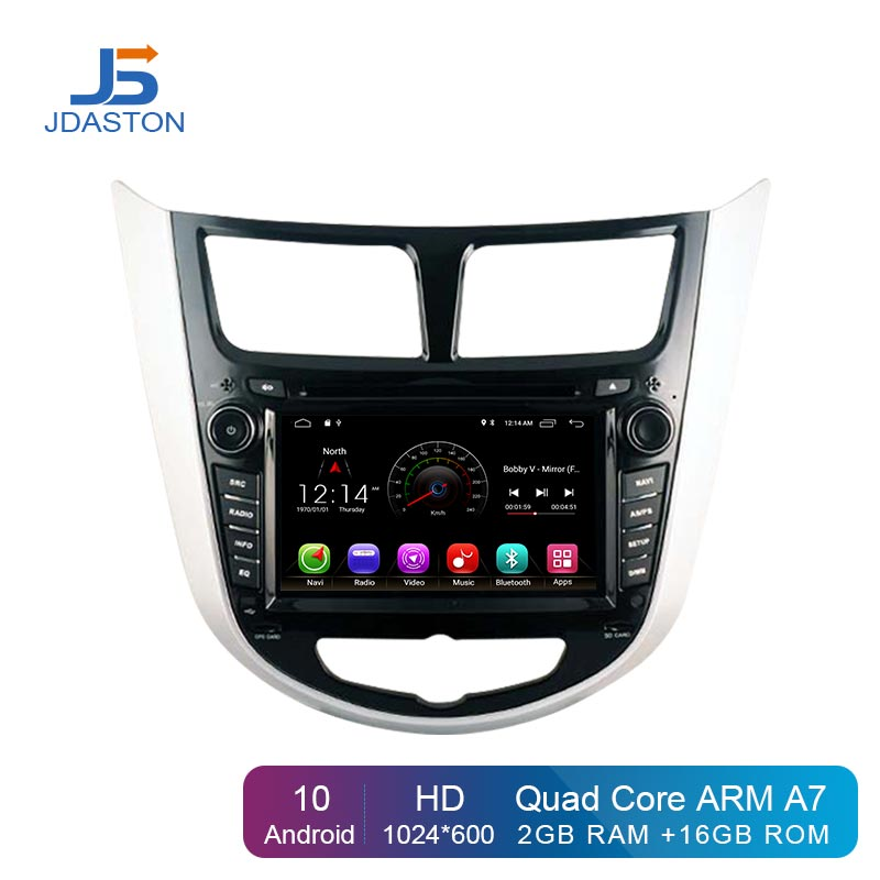 JDASTON Android 10 Car DVD Player For <font><b>Hyundai</b></font> Solaris Verna <font><b>Accent</b></font> Multimedia <font><b>GPS</b></font> Navi 2 Din Car Radio Audio Stereo WIFI RDS SD image
