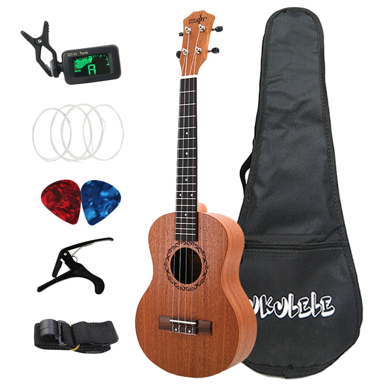 Dropship-26 Inch Ukelele Tenor Sapele Acoustic Guitaar Mini Hawaii Full Kits Ukulele Guitar for Beginner Kids