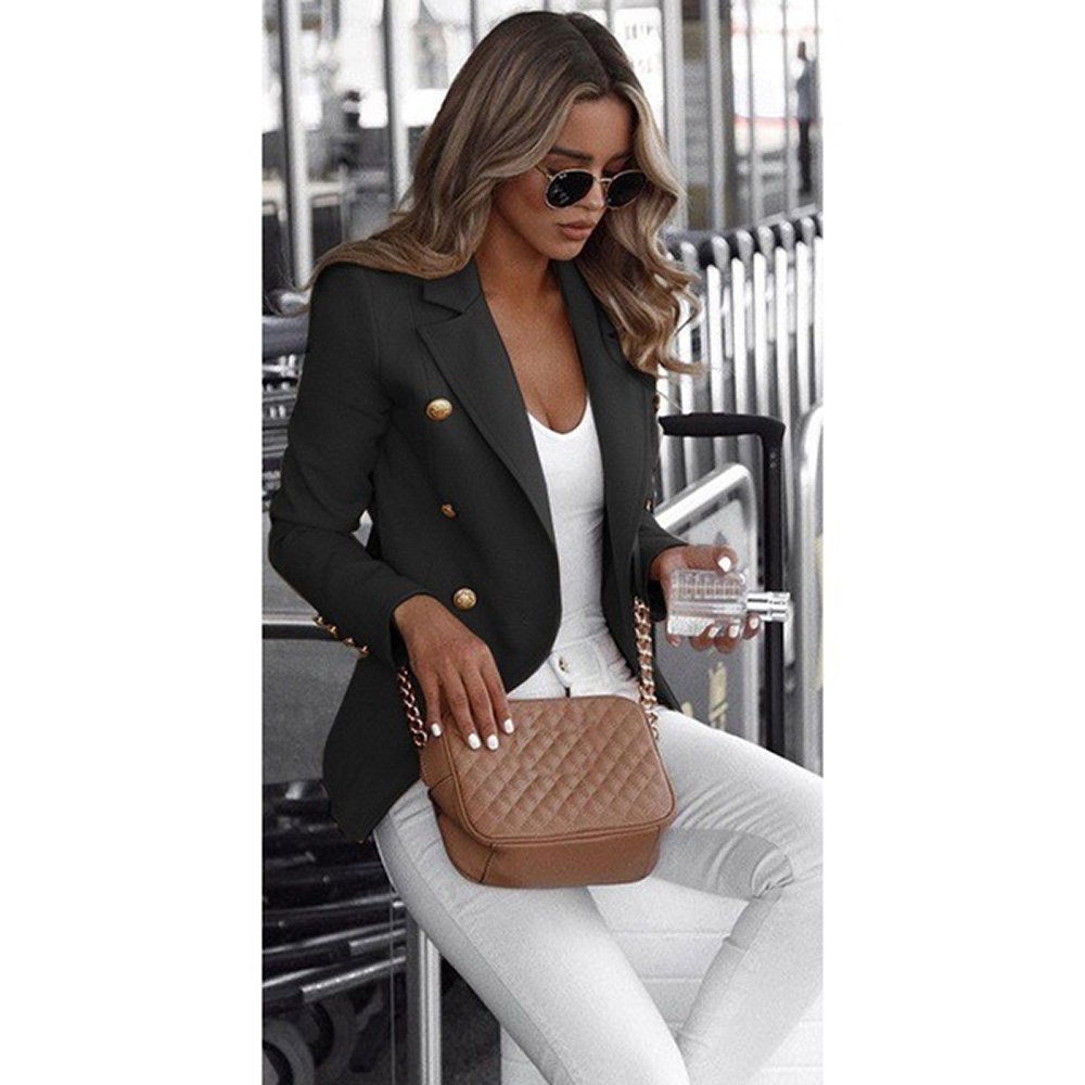 Blazer Women's Office Wear Jacket Fashion Casual Long Sleeve 2020 Autumn Double Breasted Solid Color Stand Up Collar Small Suit