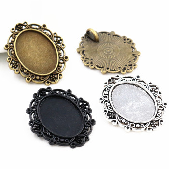 5pcs/Lot Fit 18x25mm Inner Size New 3 Colors Plated Flowers Style Cameo Cabochon Base Setting Charms Pendant necklace findings