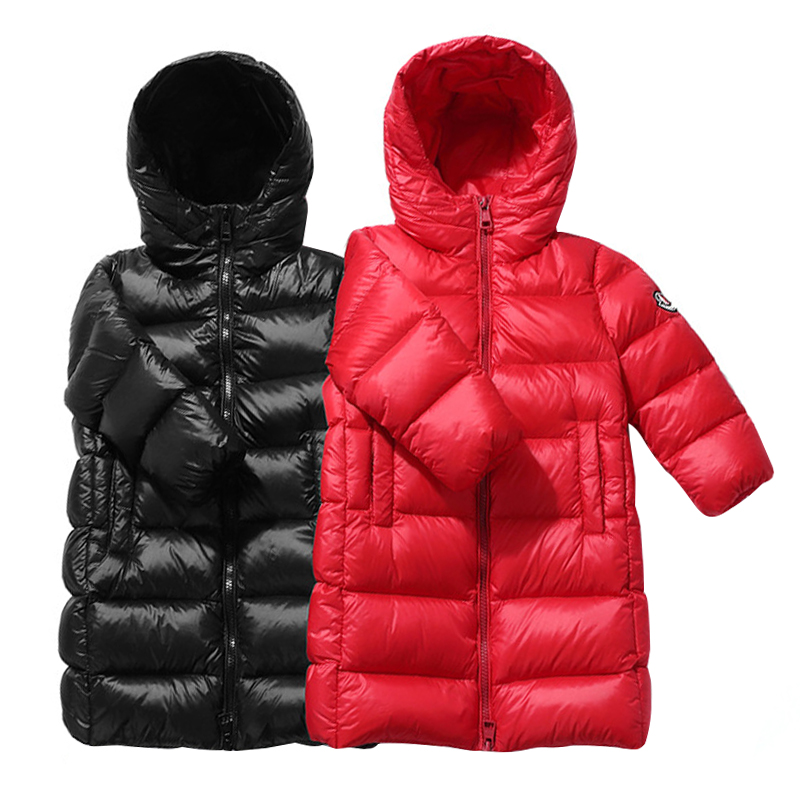 2019 Winter New Thick Warm Children's Sports Down Jacket Big Boy Girl Long White Duck Down Hooded Down Jacket Kids Clothing
