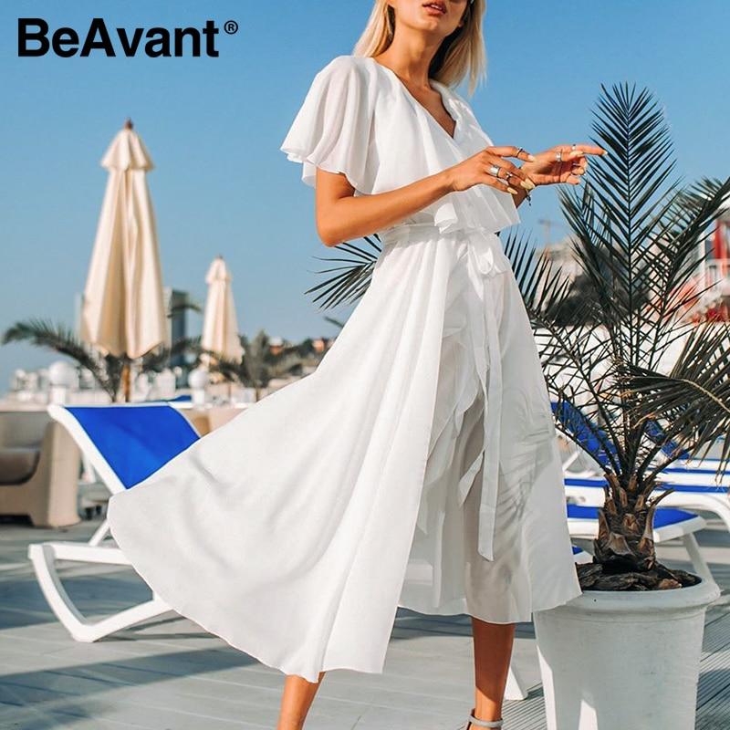 BeAvant 2020 Chiffon White Long Dress Female V Neck Sexy Ruffled Summer Boho Dress Women High Waist Maxi Dress Sundress Vestidos