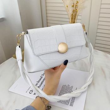 2020 New Stone Pattern Shoulder Bag Rope Strap PU Leather Crossbody Bags for Women Designer Handbags Luxury Women Bags - Beige, 25x12x9cm